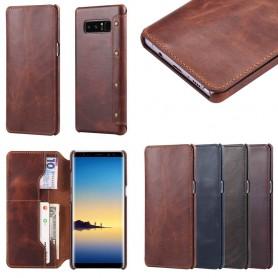 Kannettava lompakko, ohut aito nahka Samsung Galaxy Note 8 SM-N950F, kannettava kuori, nahkakotelo