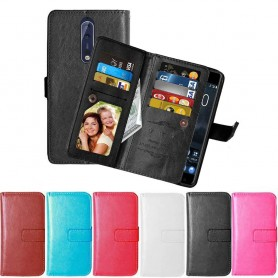 Kaksinkertainen käännettävä Flexi 9 -kortti Nokia 8 -laukun kannettavan lompakon suojakotelo