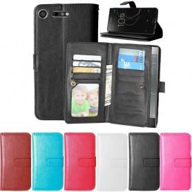 Kaksinkertainen läppä Flexi 9 -kortti Sony Xperia XZ1 matkapuhelinkotelo matkapuhelimen kotelo