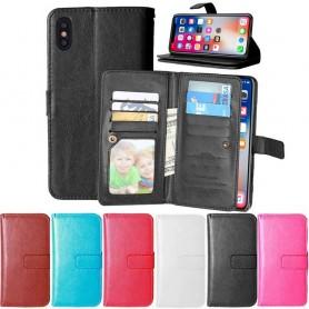 Kaksinkertainen läppä Flexi 9 -kortti Apple iPhone X -laukku lompakon suoja