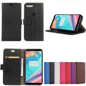 Siirrettävä lompakko 2-kortti, seteli OnePlus 5T pesukotelon litsi-nahka