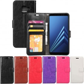 Kannettava lompakko 3-kortti Samsung Galaxy A8 Plus 2018 SM-A730F -kotelo matkapuhelinkotelo