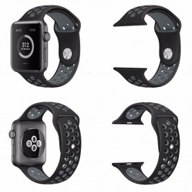 Apple Watch 38mm Sport Rannekoru Silikoni Musta-Harmaa Sarja 1 2 ja nike + CaseOnline.se