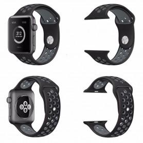 Apple Watch 42mm Sport Rannekoru Silikoni Musta-Harmaa Sarja 1 2 ja nike + CaseOnline.se