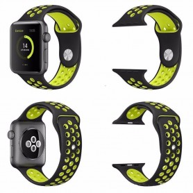 Apple Watch 42mm Sport Rannekoru Silikoni Musta-Keltainen Rannekoru