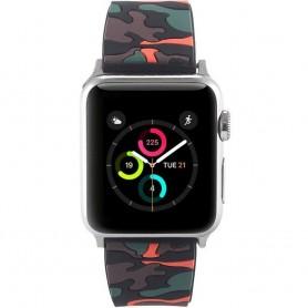 Apple Watch 38mm Camo-silikonirannekoru - musta / oranssi lisävaruste hihnakello