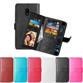 Kaksinkertainen läppä Flexi 9 -kortti Nokia 3 -kannettava matkapuhelimen lompakkosuoja