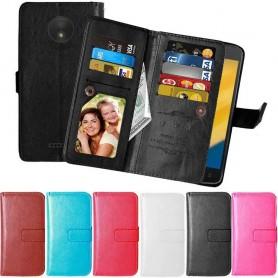 Kannettava kansi Kaksinkertainen läppä Flexi -laukku lompakko Motorola Moto C Plus suojakuori