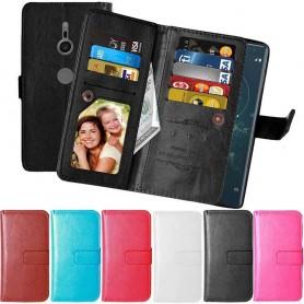 Kannettava lompakko Kaksinkertainen läppä Flexi 9 -kortti Sony Xperia XZ2 -kotelo