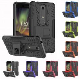 Iskunkestävä Nokia 6.1 2018 matkapuhelinlaukku, jossa silikoniteline