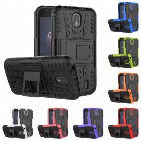Iskunkestävä kuori telineellä Nokia 1 matkapuhelimen suojakotelo