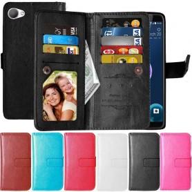 Kaksinkertainen läppä Flexi 9 -kortti HTC Desire 12 matkapuhelimen lompakko