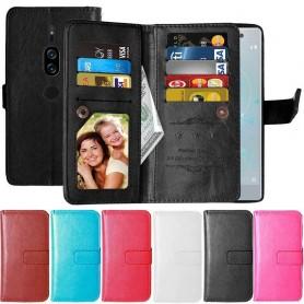 Kaksinkertainen läppä Flexi 9 -kortti Sony Xperia XZ2 Premium matkapuhelimen kotelo