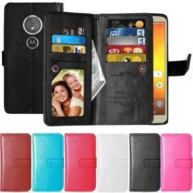 Kaksinkertainen läppä Flexi 9 -kortti Motorola Moto E5 kannettava suojakotelo