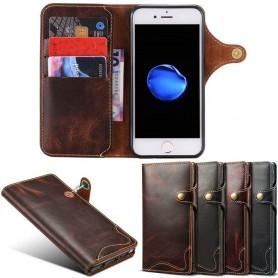 Kannettava lompakko 3 -kortti aitoa nahkaa Apple iPhone 8-matkapuhelinlaukku