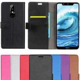 Kannettava lompakko 2 -kortti Nokia 5.1 Plus -kotelo matkapuhelinkotelo