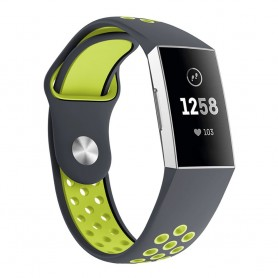 Fitbit Charge 3 EBN Sport -rannekoru - harmaa / vihreä