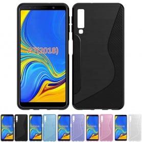 S Line silikonikuori Samsung Galaxy A7 2018 matkapuhelin