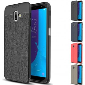 Nahkakuvioitu TPU-kuori Samsung Galaxy J6 Plus 2018 (SM-J610F) matkapuhelinlaukku