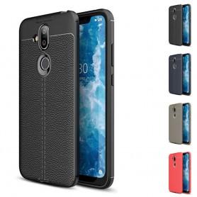 Nahkakuvioinen matkapuhelinkotelo TPU-suojakuori Nokia 8.1 2018 (TA-1128)