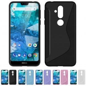 S Line -silikonikotelo Nokia 8.1 2018 (TA-1128) matkapuhelimen suojakotelo