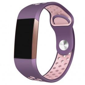 Fitbit Charge 3 EBN Sport -rannekoru - violetti / vaaleanpunainen