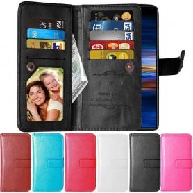Kannettava lompakko Double Flip Flexi 9 -kortti Sony Xperia 1 (I8134) Multi Wallet -kotelo Matkapuhelinkotelo