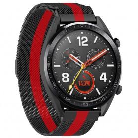 Milanese RSF Steel Huawei Watch GT / Magic / TicWatch Pro - musta / punainen