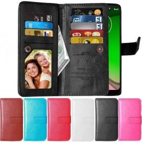 Kaksinkertainen läppä Flexi 9 -kortti Motorola Moto G7 Power (XT1955) kannettava suojakotelo