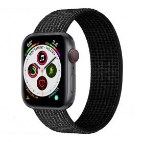 Apple Watch 5 (40 mm) nylonrannekoru - musta / valkoinen