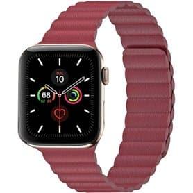 Apple Watch 5 (44mm) nahkainen silmukkahihna - punainen