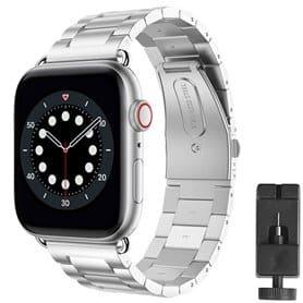 Rannekoru ruostumattomasta teräksestä valmistettu Apple Watch 6 (44mm) - Hopea