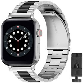 Rannekoru ruostumattomasta teräksestä valmistettu Apple Watch 6 (44mm) - Hopea/musta