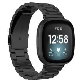 Rannekoru ruostumatonta terästä Fitbit Versa 3 - Musta